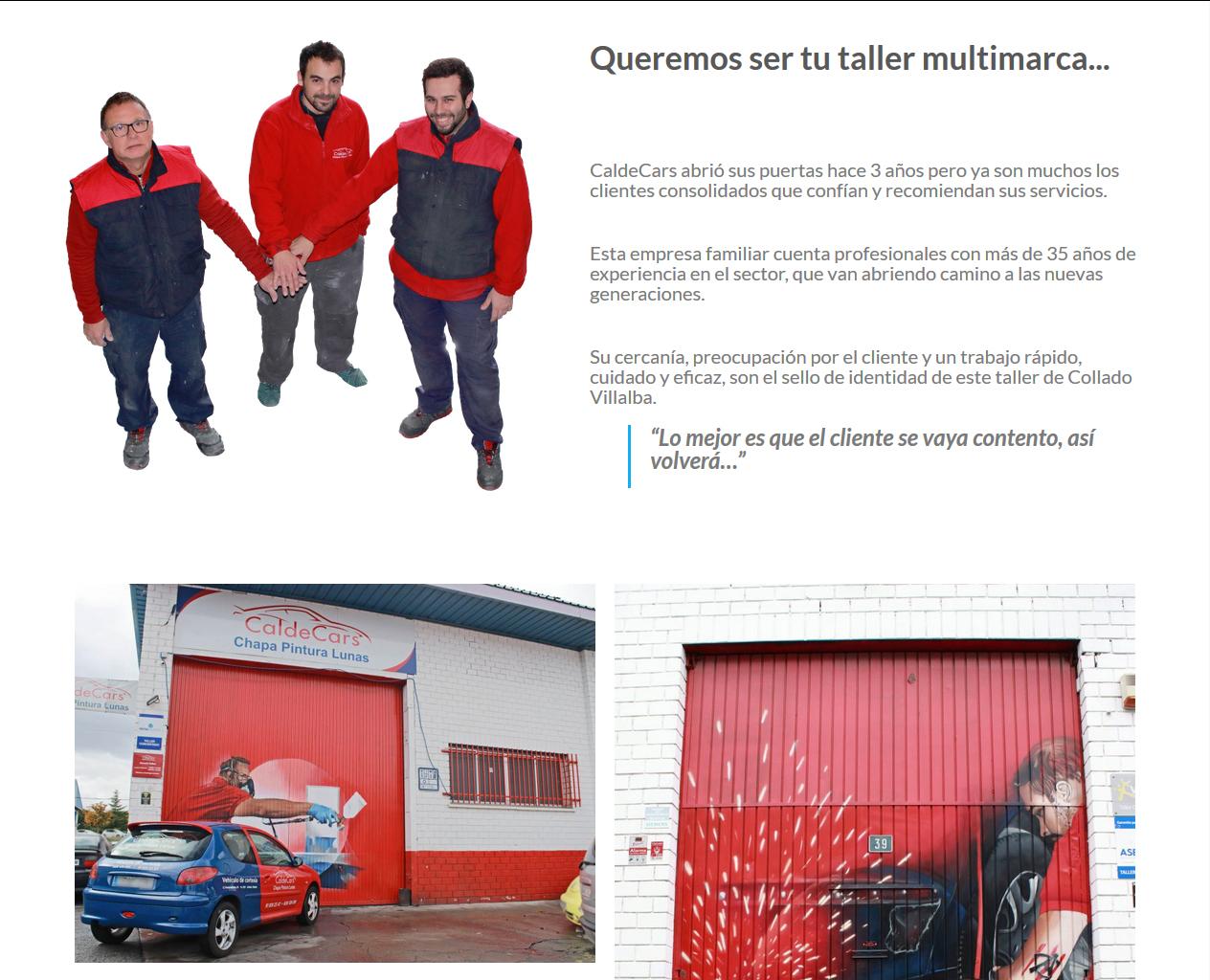 Otro cliente flipaz.es: Caldecars, taller en Collado Villalba