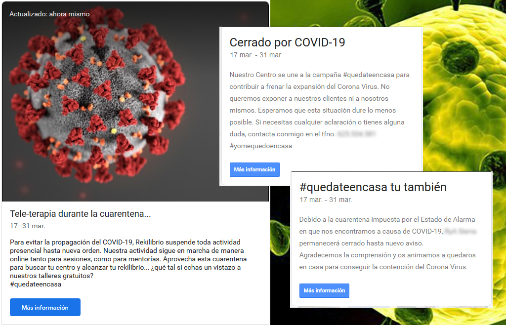 Guía de GoogleMyBusiness durante la cuarentena del Covid-19: ejemplos de publicaciones en tu ficha GoogleMaps con motivo del covid-19
